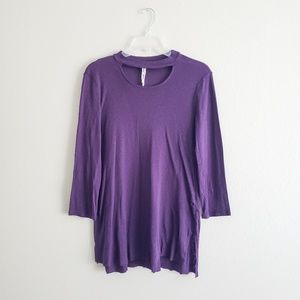 Michael Stars Purple Choker Tunic Raw Hem OS